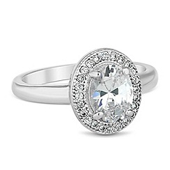 Jon Richard - Oval cubic zirconia surround ring