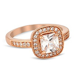 Jon Richard - Rose gold cubic zirconia surround ring