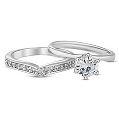 Jon Richard - Cubic zirconia and embellished band ring set
