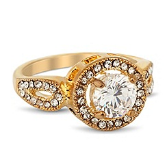 Jon Richard - Clara round cubic zirconia gold ring