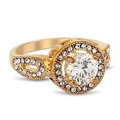 Jon Richard - Clara round cubic zirconia gold ring