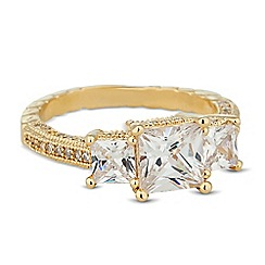 Jon Richard - Cubic zirconia graduated triple square ring
