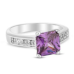 Jon Richard - Purple cubic zirconia square embellished band ring