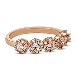 Jon Richard - Cubic zirconia mini clara rose gold band ring