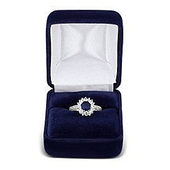 Jon Richard - Blue round cubic zirconia surround ring