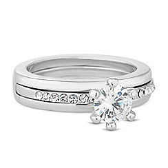 Jon Richard - Cubic zirconia embellished panelled ring