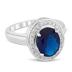 Jon Richard - Blue oval cubic zirconia Kate ring