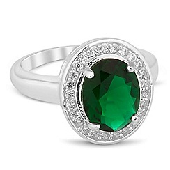 Jon Richard - Green oval cubic zirconia Kate ring