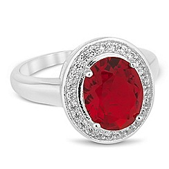 Jon Richard - Red oval cubic zirconia Kate ring