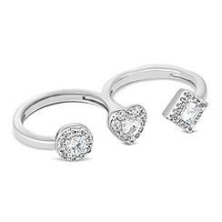 Jon Richard - Online exclusive cubic zirconia triple finger ring