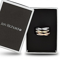 Jon Richard - Crystal encased triple tone twist ring set