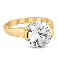Jon Richard - Round cubic zirconia gold band ring