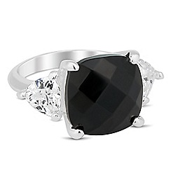 Jon Richard - Jet facet cubic zirconia surround ring