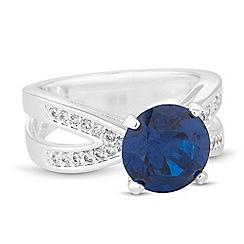 Jon Richard - Round blue cubic zirconia embellished band ring