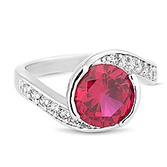 Jon Richard - Red cubic zirconia swirl effect ring