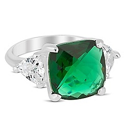 Jon Richard - Green facet cubic zirconia surround ring