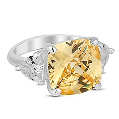 Jon Richard - Yellow facet cubic zirconia surround ring