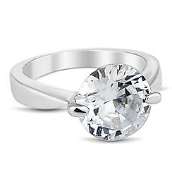 Jon Richard - Round cubic zirconia silver band ring