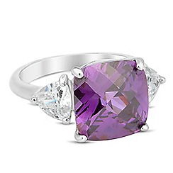 Jon Richard - Purple facet cubic zirconia surround ring
