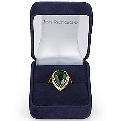 Jon Richard - Green cubic zirconia surround teardrop ring