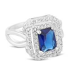 Jon Richard - Blue cubic zirconia double square surround ring