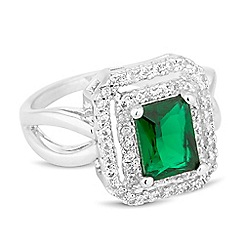 Jon Richard - Green cubic zirconia double square surround ring