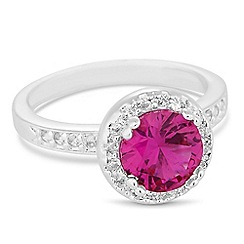 Jon Richard - Red round cubic zirconia surround ring