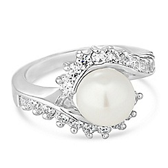 Jon Richard - Cubic zirconia surround pearl ring