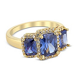 Jon Richard - Triple blue cubic zirconia surround stone ring