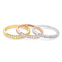 Jon Richard - Set of three cubic zirconia mixed metal rings