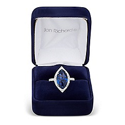 Jon Richard - Blue cubic zirconia navette surround ring