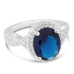 Jon Richard - Oval blue cubic zirconia surround ring