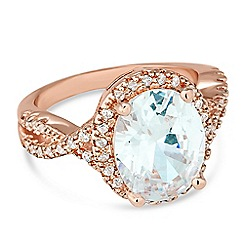 Jon Richard - Oval rose gold cubic zirconia surround ring