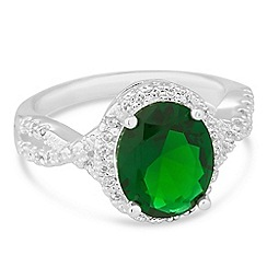 Jon Richard - Oval green cubic zirconia surround ring