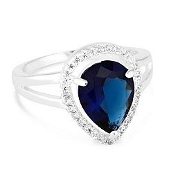 Jon Richard - Blue cubic zirconia pave peardrop ring