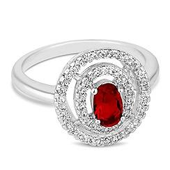 Jon Richard - Red cubic zirconia double circle ring