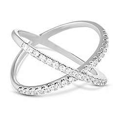 Jon Richard - Silver cubic zirconia open cross over ring