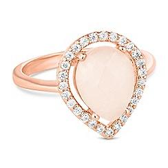 Jon Richard - Rose gold crystal pave peardrop ring