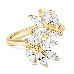 Jon Richard - Gold cubic zirconia climbing leaf ring