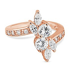 Jon Richard - Rose gold cubic zirconia twist leaf ring