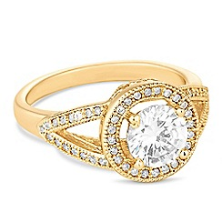 Jon Richard - Gold cubic zirconia pave circle ring