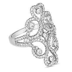 Jon Richard - Silver cubic zirconia swirl filigree ring