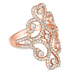 Jon Richard - Rose gold cubic zirconia swirl filigree ring