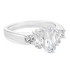 Jon Richard - Silver cubic zirconia baguette ring