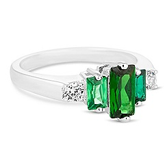 Jon Richard - Green cubic zirconia baguette ring