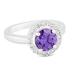 Jon Richard - Purple cubic zirconia halo ring