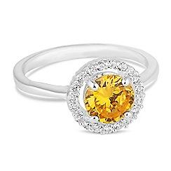 Jon Richard - Yellow cubic zirconia halo ring