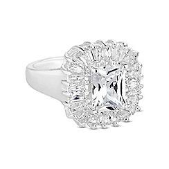 Jon Richard - Silver crystal baguette ring