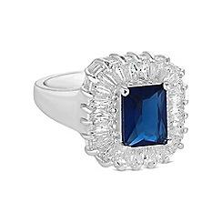 Jon Richard - Blue crystal baguette ring