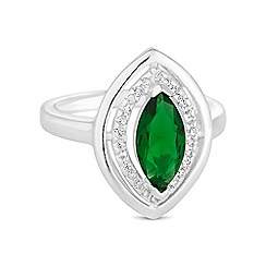 Jon Richard - Green crystal navette ring